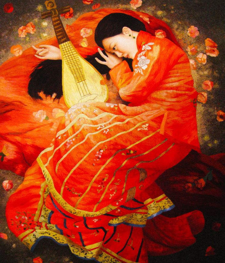 Girl in Red with Pipa #Handmade #Silk #Embroidery #Art 75201 http://www.queensilkart.com/100-handmade-silk-pipa-girl-in-red-suzhou-silk-embroidery-art-75201/ This beautiful musician lying with her pipa has tremendous detail, resolution and expression. A pipa is a Chinese lute, an ancient plucked instrument. Certain modern Chinese artists study and employ Western artistic styles and techniques such as realism and impressionism, but paint traditional Chinese subjects and themes.