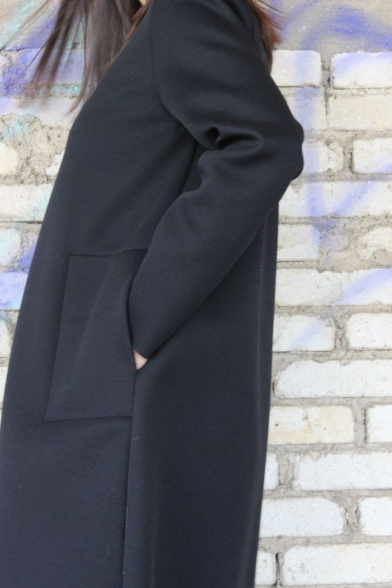 NEW COLLECTION Neoprene Black Coat / Extravagant Black Trench / Minimalist Autumn Neoprene Blazer/ Extravagant Jacket by Fraktura C0005
