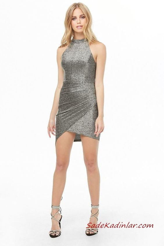 5507f214bc162 Abiye Modelleri Gri Kısa Kolsuz Katlamalı Etekli Simli Kumaş #moda #fashion  #fashionblogger #eveningdresses #eveninggowns #dresses #promdresses ...