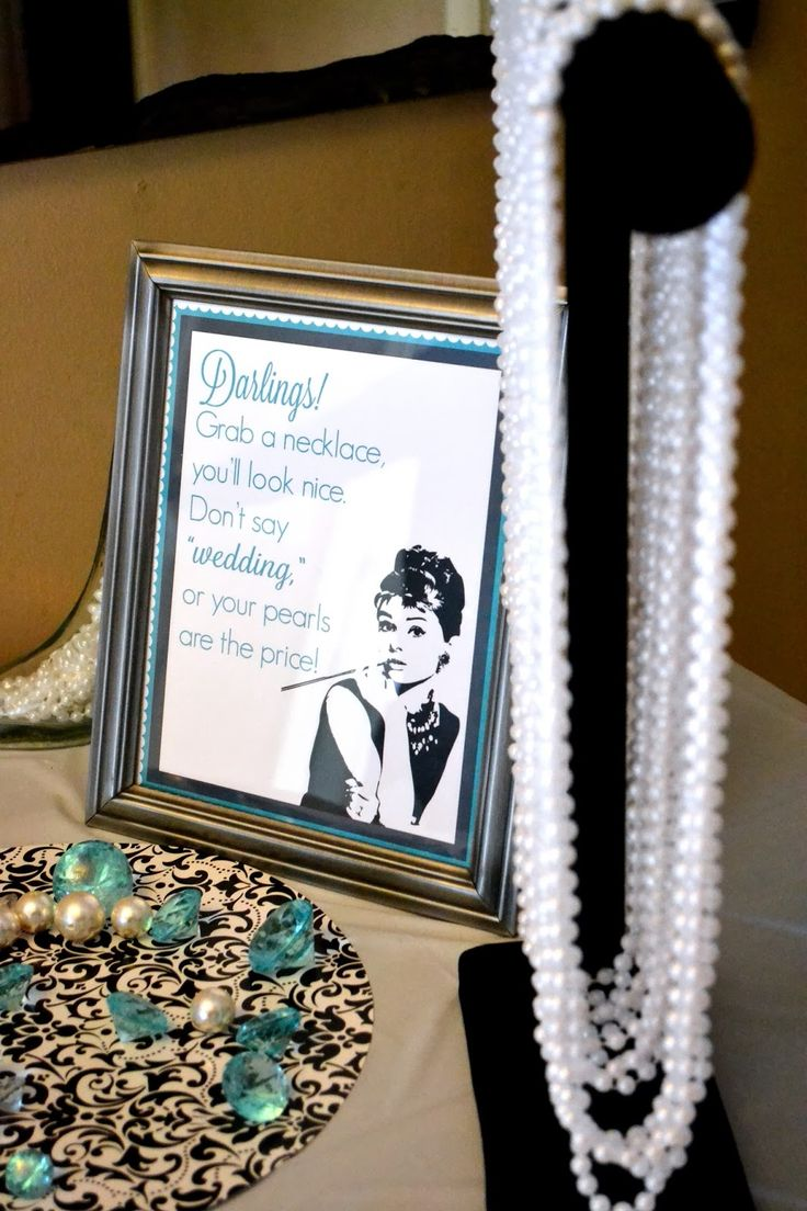 Breakfast at Tiffany's Themed Bridal Shower | Pearl Necklace Game!  Pin/Photo from: http://lindseymtrout.blogspot.com/2014/03/christine-co.html
