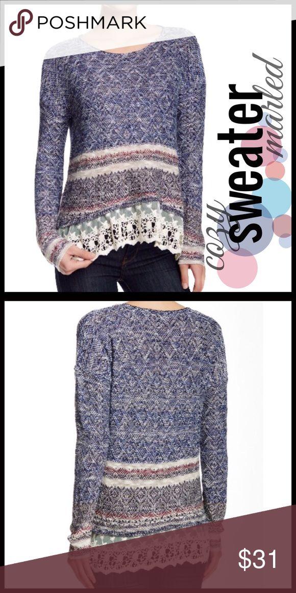 Marled Lace-Trim Sweater Marled Lace-Trim Sweater.                          @1 Sweaters