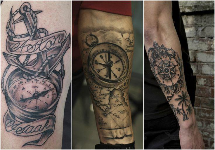 tatouage rose des vents pirate de style réaliste avec ombrages sur l'avant-bras