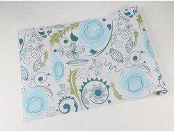 Papel de parede floral, flores azuis com detalhes em azul petróleo e folhagem verde - Floral 59