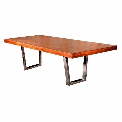 mesa 8 lugares gracia madeira demolição pés aço inox 210 mt