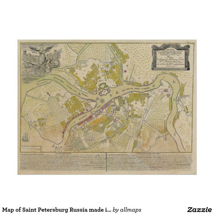 Carte de St Petersbourg Russie faite en 1737 Poster