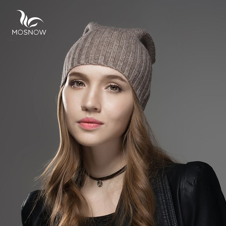 Mosnow New Wool Solid Winter Hat  For Women Men Casual Brand Women'S Vogue Knitted Warm  Gorros Mujer Invierno Skullies Beanies