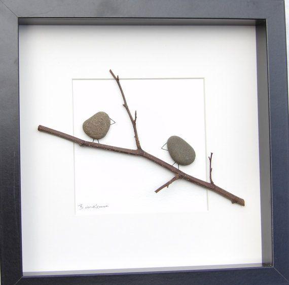 Cuadro del arte escocés guijarro aves 8 por PebblePictures en Etsy