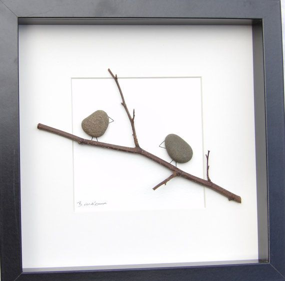 beautiful pebble picture with the popular little pebble birds sitting on a branch motif using a