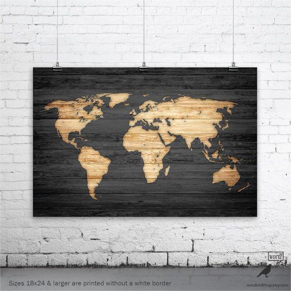 Rustico mondo mappa Poster Vintage mappa del mondo di WordBirdShop