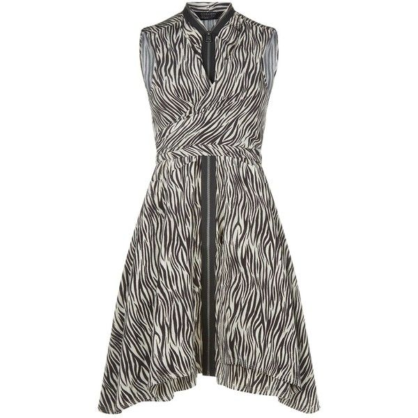 AllSaints Jayda Zebra Dress ($260) ❤ liked on Polyvore featuring dresses, silk dress, zebra stripe dress, white day dress, white color dress and allsaints dress