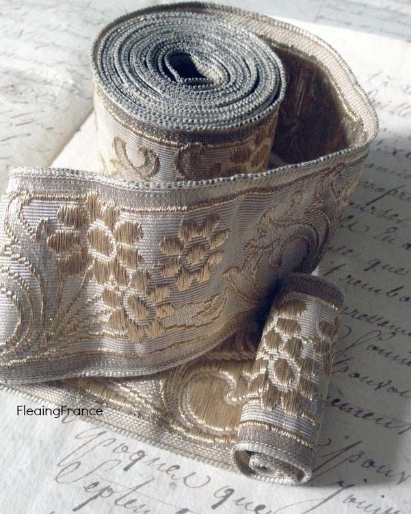 Stunning Antique French Gold & Silver Brocade Trim