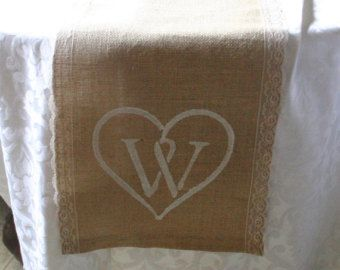Bride and Groom place settings Burlap wedding by Bannerbanquet
