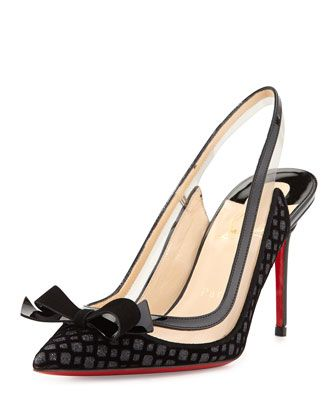 Suspenodo Flocked Red-Sole Slingback Pump by Christian Louboutin ...