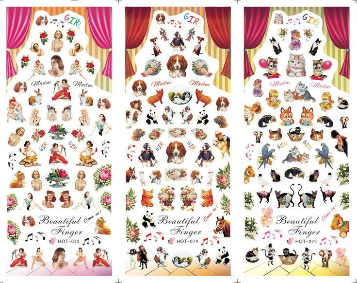 KADS Manicure special HOT series nail nails The circus dog and cat flower woman-1 Pack 3 design * You can find more details by visiting the image link.