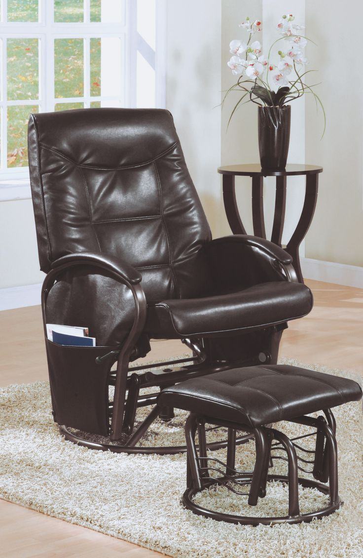 Modern leather rocker recliner - Upholstered Faux Leather And Swivel Rocker Recliner With Ottoman Brown Seat Yourself In Unsurpassed Comfort And Style With This Brown Colored Recliner