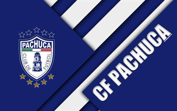 Download wallpapers Pachuca FC, 4K, Mexican Football Club, material design, logo, blue white abstraction, Pachuca de Soto, Mexico, Primera Division, Liga MX, CF Pachuca