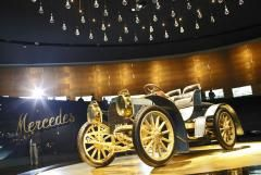 Legendary vehicle  Mercedes-Benz Museum     Starting on the top floor, the exhibition covers social history as well as design – past, present, and future. Among the more than 160 vehicles are the legendary Silver Arrow and the Millipede, the LP 333 pickup truck.
