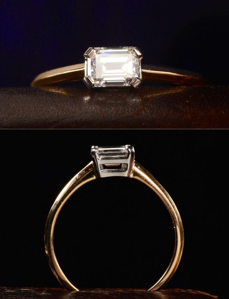 EB Emerald Cut Ring, Vintage 0.50ct Emerald Cut Diamond (GIA: F/SI1), Platinum, 18K Yellow Gold, $3350