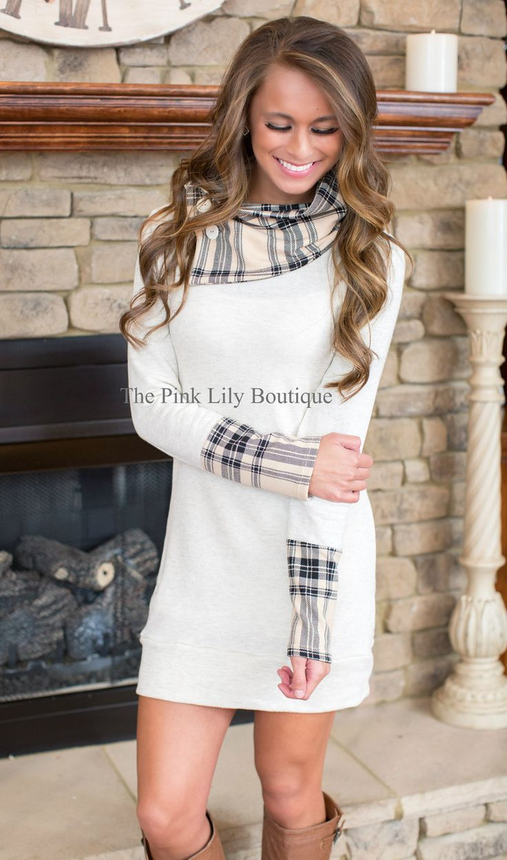 Keep It Classy Oatmeal Tunic Dress - The Dressing Space Boutique only I its actually long enough for a tall girl like me Women, Men and Kids Outfit Ideas on our website at 7ootd.com #ootd #7ootd