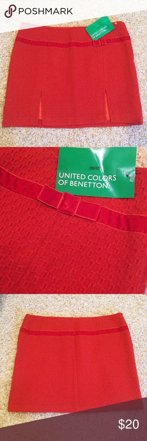 "NWT Orange Skirt Orange skirt with velvet bow, 14.5"" long, fully lined. No stains, pulls, or flaws! European size 45, US size 8. United Colors Of Benetton Skirts Mini"