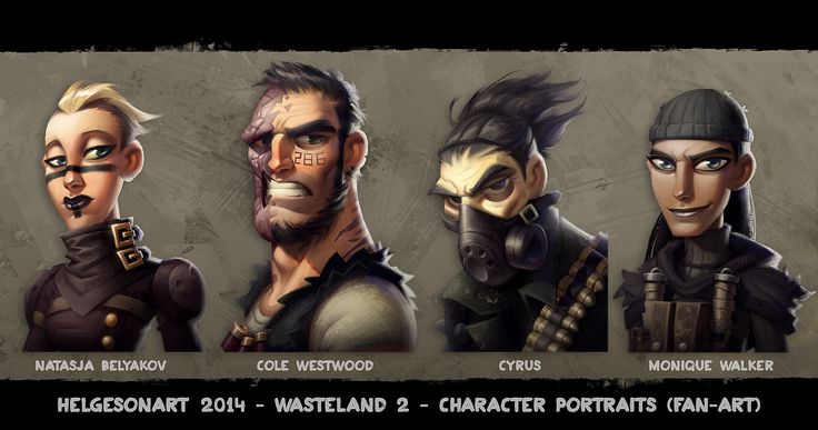 Wasteland 2 - Character Portraits Set 02 - Color, Johannes Helgeson on ArtStation at http://www.artstation.com/artwork/wasteland-2-character-portraits-set-02-color