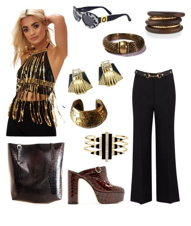 """Egyptian Outfit"" by hellenrose7292 on Polyvore featuring Versace, Gucci, Christian Dior, Noir Jewelry, NEST Jewelry, Roberto Cavalli and AlexaChung"