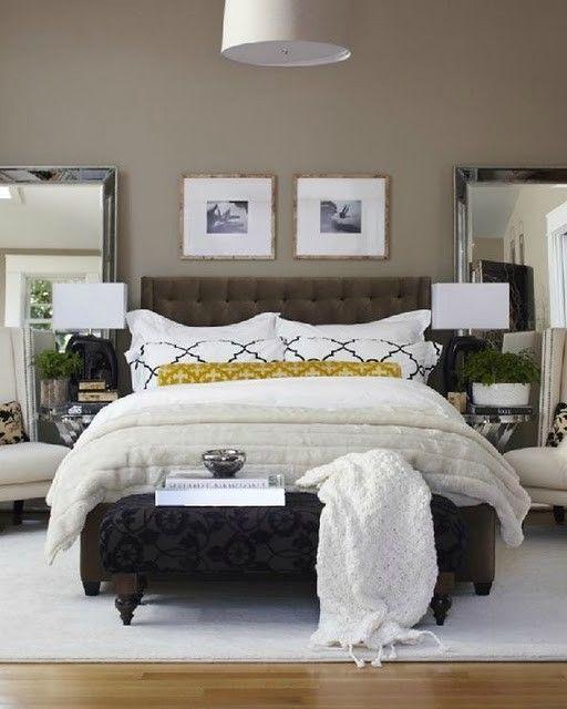 I love the idea of full length mirrors behind the nightstands @Karen Miller