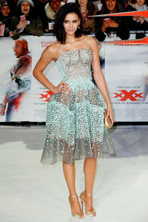 Nina Dobrev attends the European premiere of 'xXx': Return of Xander Cage' at Cineworld 02 Arena on January 10, 2017 in London, United Kingdom.