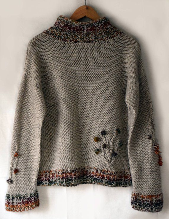 Light brown oversize sweater handmade Beige sand owl forest