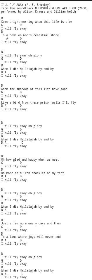 I'll Fly Away, guitar chords,  Gospel hymn