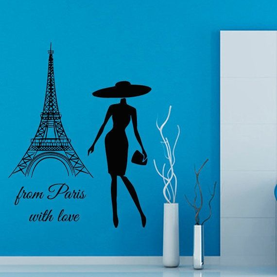 Quote from paris with love vinyl sticker fashion woman home interior france art murals sticker decal