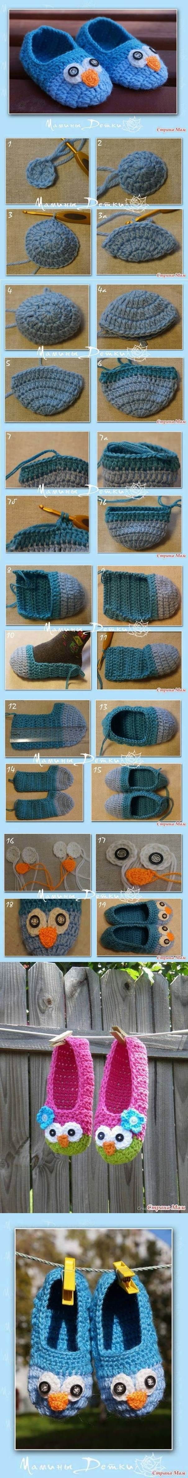 DIY Cute Crochet Owl Slippers for Kids | iCreativeIdeas.com Like Us on Facebook ==> https://www.facebook.com/icreativeideas