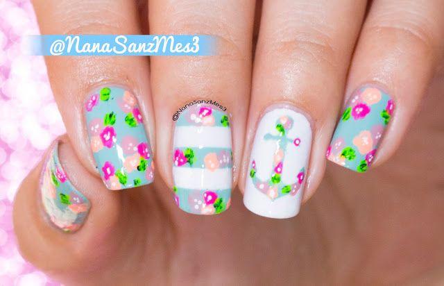 Sailor Floral Nails by @nanasanzmes3 #nailart #sailor #floralnails