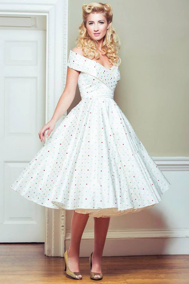 Oh My Honey White 1950s Wedding Dress polka dots off the shoulder