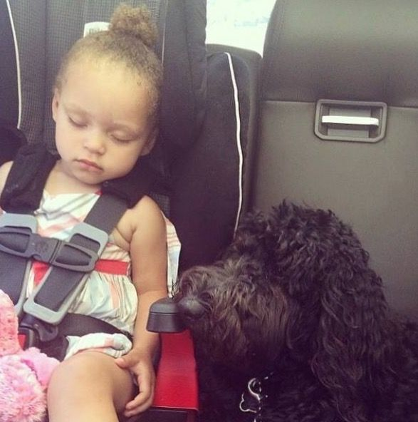 Riley Curry and her dog