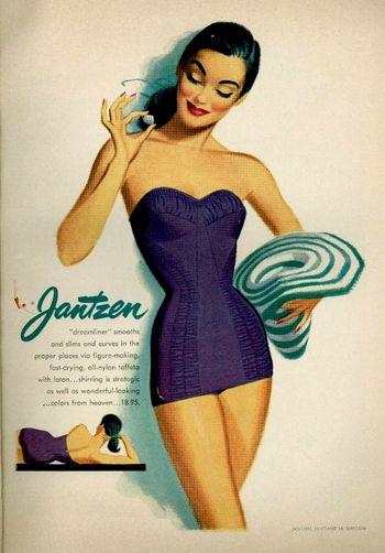 A figure hugging, alluringly pretty 1950s Jantzen suit.Vintage Swimsuits,  Tanks Suits, Colors Combos, Swimwear, Vintage Swimming, Vintage Observed, Vintage Bath Suits, 1950, Vintage Ads