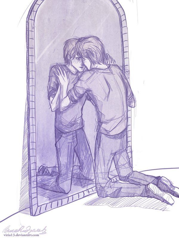 George Weasley. Every mirror is the Mirror of Erised :'(: Fan Art, Fred, Harrypotter, George Sees, Harry Potter, George Weasley, George S Mirror, Fanart