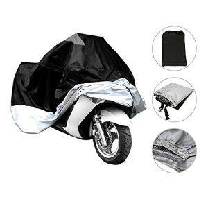 Besmall Bâche MOTO velo Housse de protection Étanche anti-poussière anti-UV pour Moto Couleur Argent/Noir Taille XL: Black Friday,Cyber…