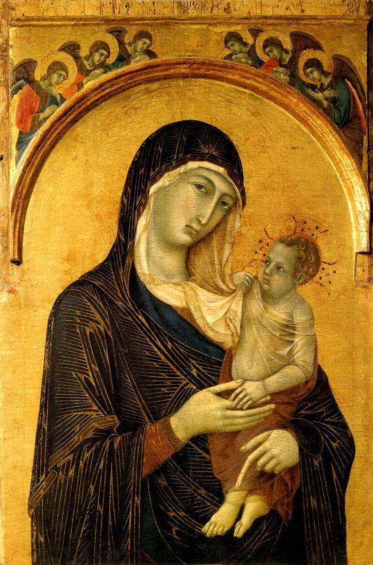 Madonna and Child with Angels Duccio di Buoninsegna (1300-1305) Mother's.  K.W.