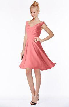 9be10e739c68 ColsBM Chloe Coral Classic Fit-n-Flare Zip up Chiffon Knee Length Ruching  Bridesmaid Dresses