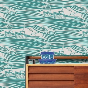 Love this wallpaper - Whitby wallpaper in lido by Mini Moderns| Childrens wallpaper