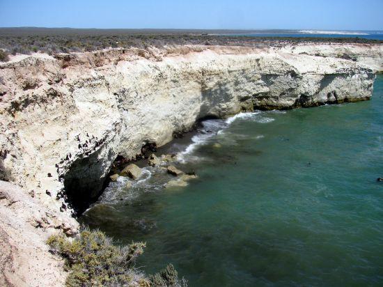 Reserva Natural Punta Tombo, en el litoral norte de la Patagonia trasandina. En esta zona de la estepa patagónica, decenas de acantilados y roqueríos caen estrepitosamente sobre el Atlántico y sus ralas planicies son el albergue natural de una numerosa especie marina.