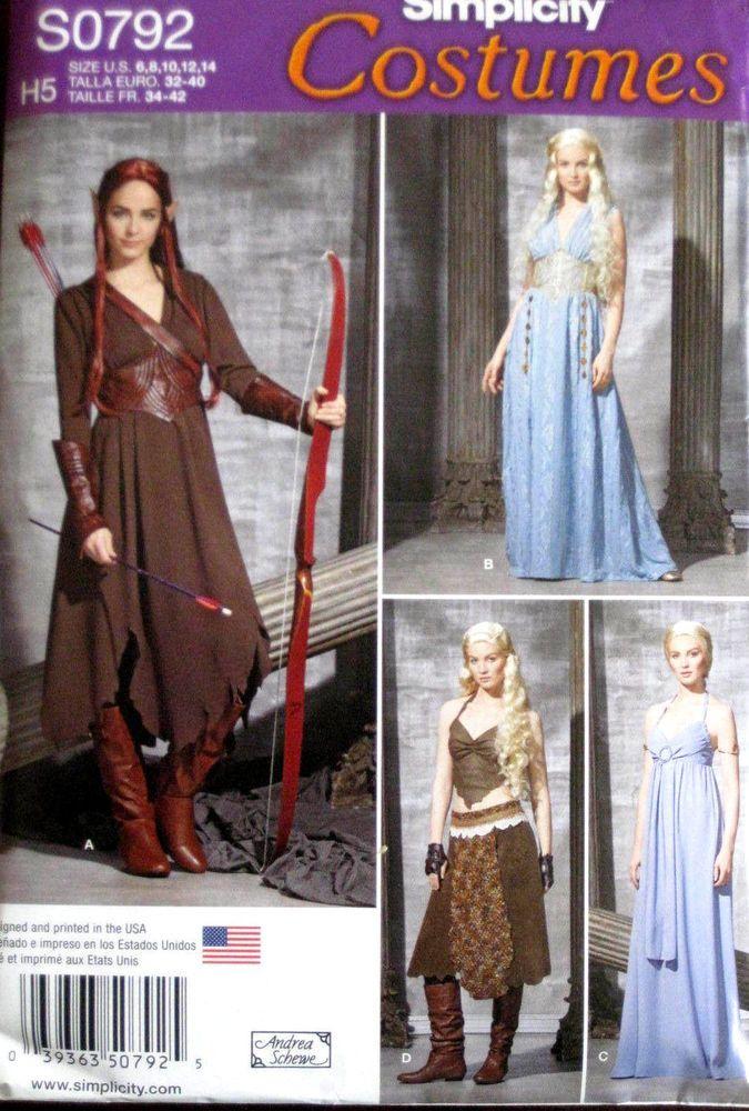 Simplicity Misses LOTR Elf Fantasy Medieval Costume Pattern 0792 1347 UC 6-14
