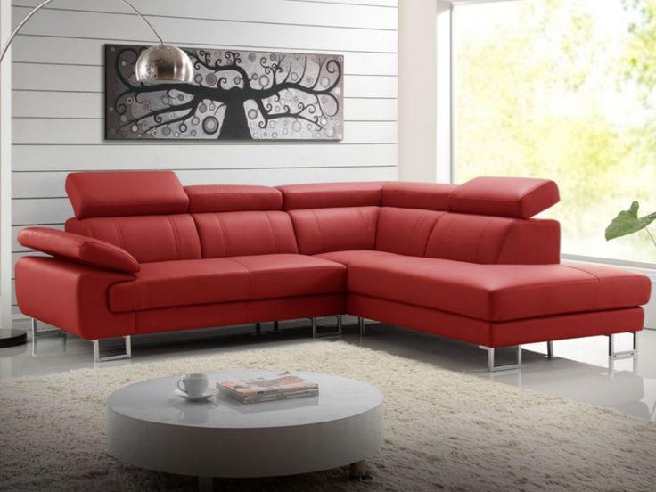 Canapé d'angle cuir COLISEE - Rouge - Angle droit prix promo Canapé cuir Vente Unique 1 099.99 € TTC prix constaté* : 1 399 €