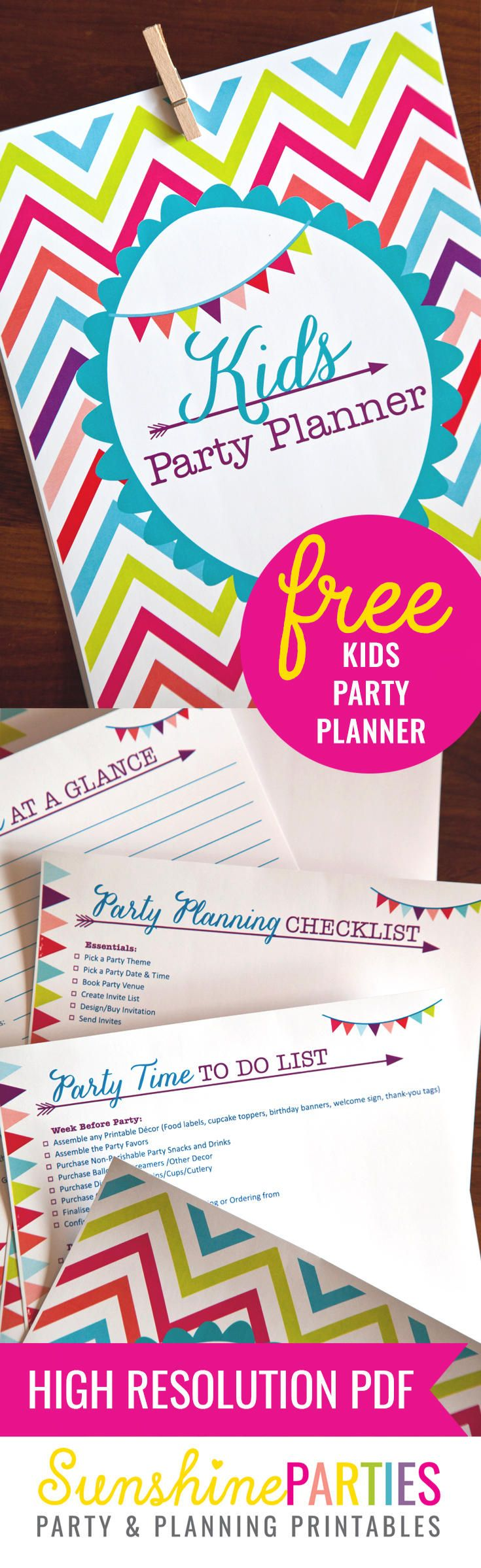 FREE Kids Party Planner - download this detailed party planner from Sunshine Parties for FREE. With checklists, advice and loads more, it will make you the party planner of the year!