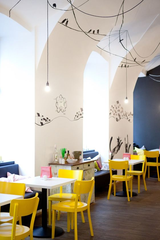 Fun playroom colours and wall scribbles | Soup in The City, Fushion Hotel, Prague #hotelinteriordesigns