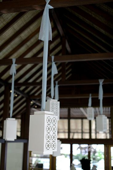 Decorative Lanterns hanging with blue tulle by Tirtha Bridal Uluwatu Bali