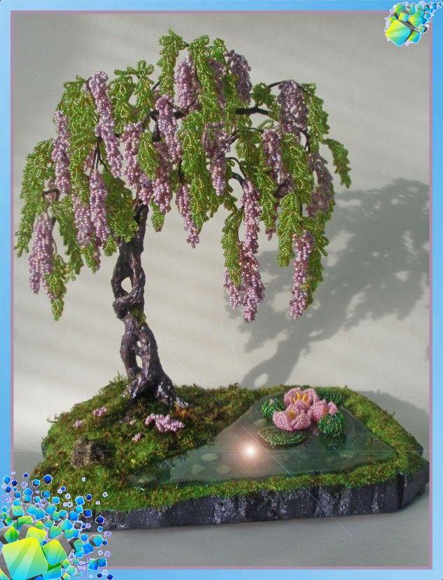 Бонсай из бисера дерево глицинии из бисера цветы из бисера