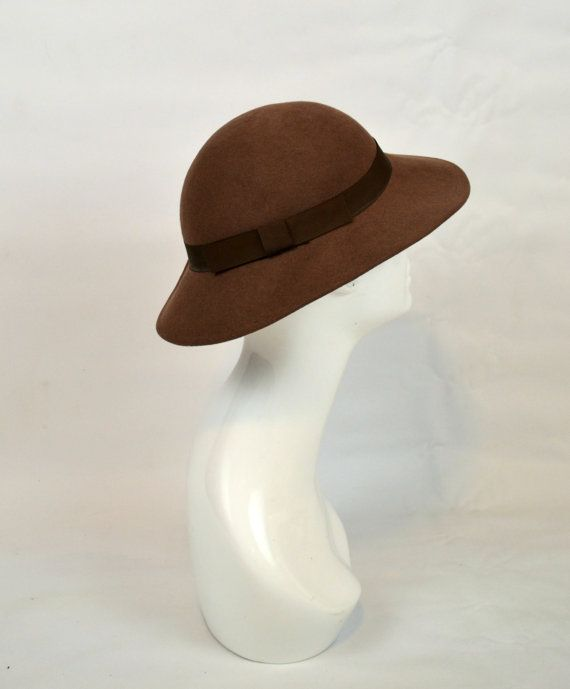 1960s Cocoa Brown Felted Wool Brimmed Hat by KrisVintageClothing