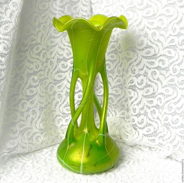 Купить Ваза Шартрёз,Богемия,Чехия,иризирующее стекло,коллекционная,в подарок - коллекционное стекло, для коллекции